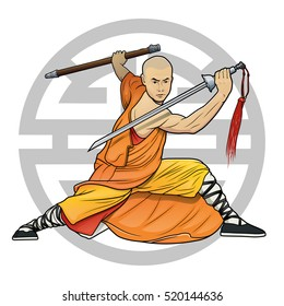 """shaolin monk with sword and chinese """"Lu"""" symbol (Prosperity)"""