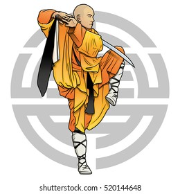 """shaolin monk with sword and chinese """"Shou"""" symbol (Longevity)"""