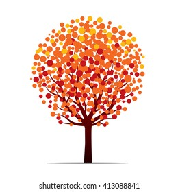 Shape of Autumn Tree with Color leaves. Vector outline Illustration. Seasonal tree and decorative floral element for print. Vector Illustration.