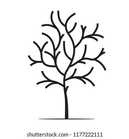 Shape of Black Tree and Icon. Vector Illustration. Nature and garden.