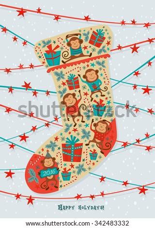 Shape Christmas Sock Monkeys Gift Boxes Stock Vector Royalty Free