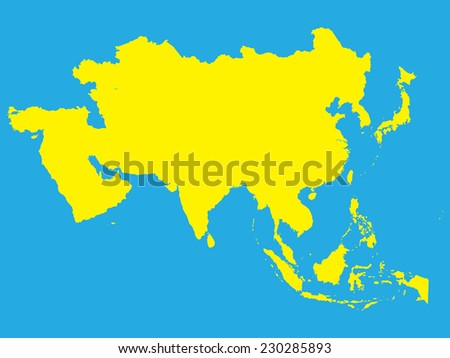 The Continent Of Asia Map.Shape Continent Asia Stock Vector Royalty Free 230285893