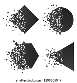 Shape explodes gradient flat style design vector illustration set isolated on white background. Square rhombus, circle, hexagon, triangle shapes in grayscale gradient exploding.