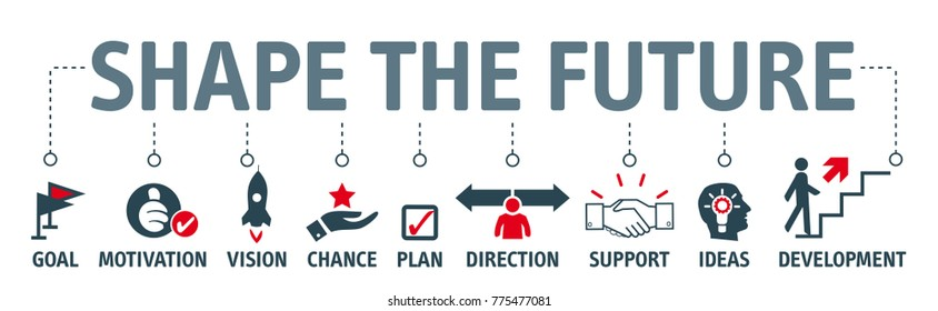 Shape the future concept vector illustration planning process. Banner with symbols and keywords