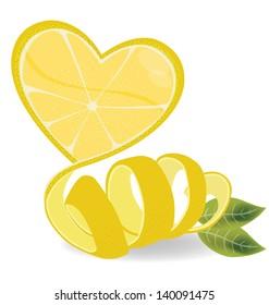 Shape of heart. love lemons vector illustration.
