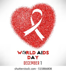 Shape of heart from red glitter with ribbon inside. World AIDS day in December 1 on white background. Vector illustration