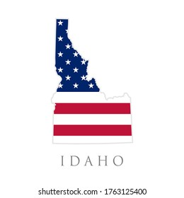 Shape of Idaho state map with American flag. vector illustration. can use for united states of America indepenence day, nationalism, and patriotism illustration. USA flag design