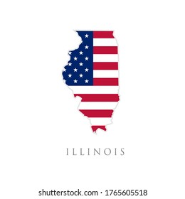Shape of Illinois state map with American flag. vector illustration. can use for united states of America indepenence day, nationalism, and patriotism illustration. USA flag design