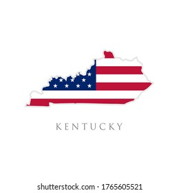 Shape of Kentucky state map with American flag. vector illustration. can use for united states of America indepenence day, nationalism, and patriotism illustration. USA flag design