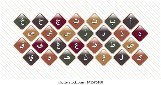 Shape of letters in arabic alphabet - Vector background