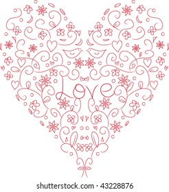 Shape in lines of love hearth with elements like flowers, birds and butterflies and the word Love in the middle