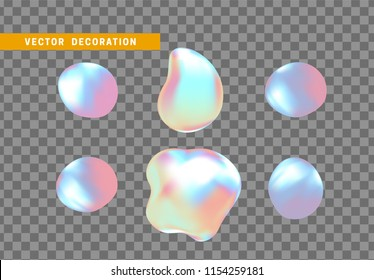 Shape liquid drops with colorful gradient. Abstract 3d fluid.