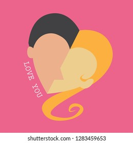 Shape of lovers with text on pink background.