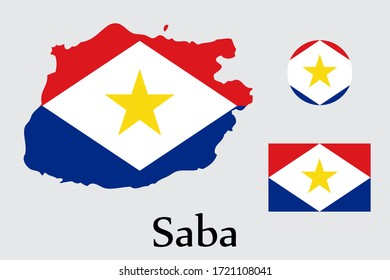 Shape map and flag of Saba country. Eps.file.