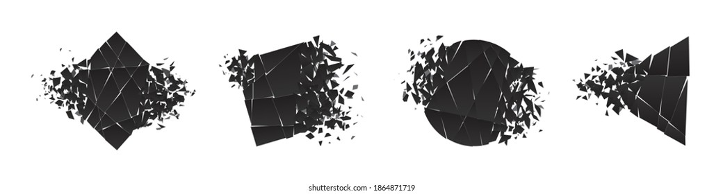 Shape shattered and explodes flat style design vector illustration set isolated on white background. Square rhombus, circle, triangle, square shapes in grayscale gradient exploding.