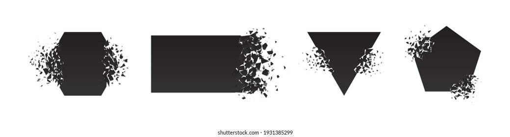 Shape shattered and explodes flat style design vector illustration set isolated on white background. Pentagon, triangle, rectangle, hexagon shapes in grayscale gradient explosion.
