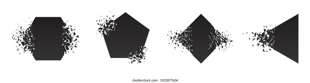 Shape shattered and explodes flat style design vector illustration set isolated on white background. Pentagon, triangle, rhombus, hexagon shapes in grayscale gradient explosion.