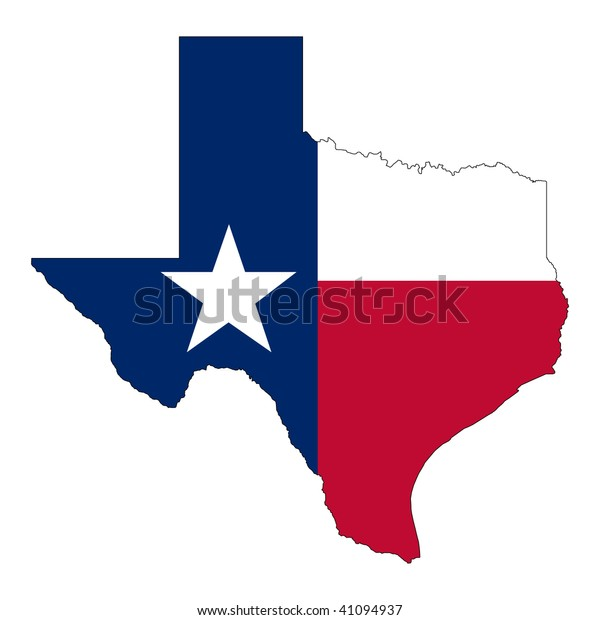 The Shape of Texas. Texas flag inside the map.