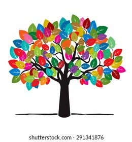 Shape of Tree with color leaves. Olive tree silhouette. Vector Illustration.