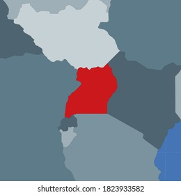 Shape of the Uganda in context of neighbour countries. Country highlighted with red color on world map. Uganda map template. Vector illustration.