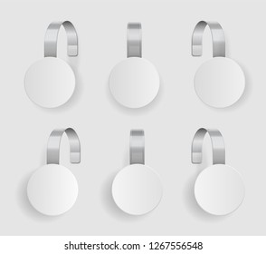 Shape wobbler. Blank white wobbler hang on wall mock up, 3d. Space round paper mockup on plastic transparent strip. Clear price sticker circle shape.