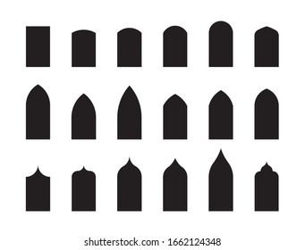 Shapes of architectural types of Gothic style arches and windows. Big set of characteristic architectural forms. Vector illustration