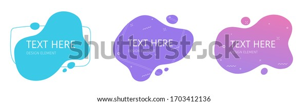 Shapes design element abstract liquid gradient geometric modern splash halftone wavy set for text copy space or fluid graphic curvy colourful vector background, idea of backdrop for flyer or brochure
