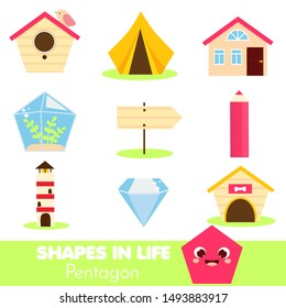 Shapes in life. Pentagon. Learning cards for kids. Educational infographic for children and toddlers. Study geometric shapes. Visual aid