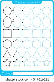 Shapes. Preschool worksheet for practicing fine motor skills - tracing dashed lines. Tracing Worksheet.  Illustration and vector outline - A4 paper ready to print.
