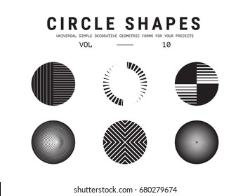 ?ircle shapes set. Universal simple decorative geometric forms for your projects. Minimal logo design