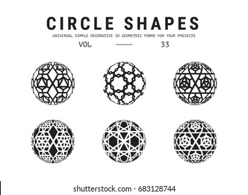 Ð¡ircle shapes set. Universal simple decorative geometric forms for your projects. Minimal logo design
