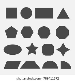 shapes square circle rectangle triangle polygon pentagon sphere star trapezium semi quarter mathematical and architectural vector icon gray eps10 for schools and webistes