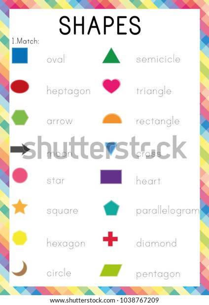 Shapes Worksheet Learning English Young Learners Stock Vector (Royalty  Free) 1038767209