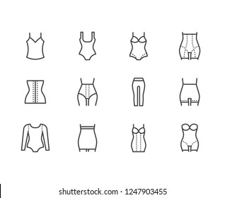Shapewear flat line icons set. Corrective underwear, shaping bodysuit, thigh slimmer, leggings, waist control panties vector illustration. Clothes store thin sign. Pixel perfect 64x64 Editable Strokes