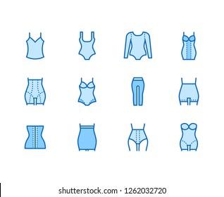f9e863b80b Shapewear flat line icons set. Corrective underwear
