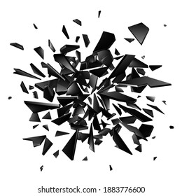 Shards of broken glass on white background. Abstract explosion. Vector background
