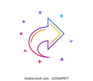 Share arrow line icon. Link Arrowhead symbol. Communication sign. Gradient line button. Share icon design. Colorful geometric shapes. Vector
