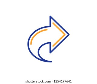 Share arrow line icon. Link Arrowhead symbol. Communication sign. Colorful outline concept. Blue and orange thin line color icon. Share Vector