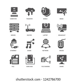 Share, Broadcast, Laptop, File, Mouse, Computer, Server, Ethernet, File sharing, Hard disk, Shield icon 16 set EPS 10 vector format. Icons optimized for both large and small resolutions.