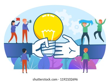 Share creative ideas concept. Small people stand near big hand with idea. Poster for social media, web page, banner or presentation. Flat design vector illustration