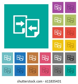 Share documents multi colored flat icons on plain square backgrounds. Included white and darker icon variations for hover or active effects.