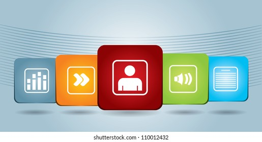 Share illustration with document icons and abstract hand