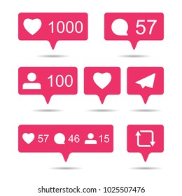 Share, like, comment, repost social media ui icons on white background. Pink bubble  icon set for websites, blog, mobile interfaces