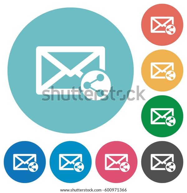Share mail flat white icons on round color backgrounds