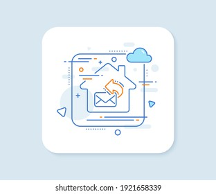 Share mail line icon. Abstract vector button. New newsletter sign. Phone E-mail symbol. Share mail line icon. Home concept badge. Vector
