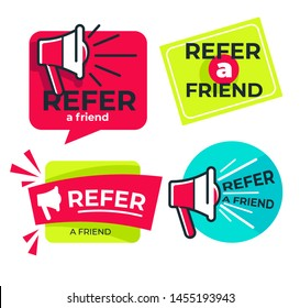 Share media information refer friend loudspeaker isolated icon program or app network and media posts and information share suggestion, or reference advice or referral emblem or logo marketing
