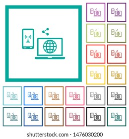Share mobile internet flat color icons with quadrant frames on white background
