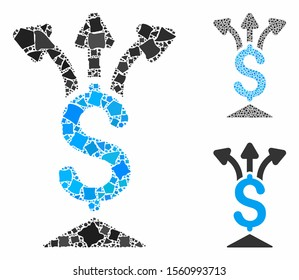 Share money mosaic of tuberous pieces in variable sizes and shades, based on share money icon. Vector raggy pieces are organized into mosaic. Share money icons collage with dotted pattern.