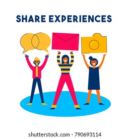 Share online experiences concept illustration in modern color flat style. Happy diverse friend group sharing content on internet social media network platform. EPS10 vector.