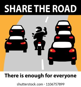 Share the road, motorcyclist warning street sign icon, Yellow sign with text. Car auto give bike motorcycles more space. Vector illustration. Banner poster design